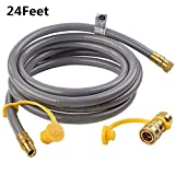 SHINESTAR 24 feet Natural Gas Quick Connect/Disconnect Hose Assembly for BBQ Grill- 50,000 BTU Fits Low Pressure Appliance -3/8″ Female Pipe Thread x 3/8″ Male Flare -CSA Certified For Sale