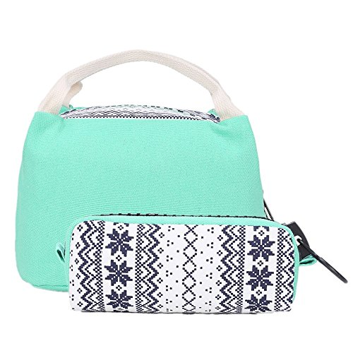 School Backpacks for Teen Girls Lightweight Canvas Backpack Bookbags Set (Light Green) by CAMTOP (Image #6)