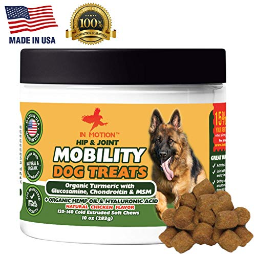 Hemp Oil & Glucosamine Treats for Dogs- Organic Hip & Joint Mobility Chewable Pet Supplements - Large & Small Dog Anti Inflammatory & Arthritis Supplement with Turmeric, Vitamins, Chondroitin & MSM