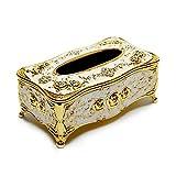 Easy 99 Luxury Vintage European Style Acrylic Tissue Box Cover Tissue Box Holder for Home Office KTV Hotel Car (Gold)