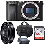Sony Alpha A6000 Mirrorless Digital Camera with 20mm Lens and 32GB Del