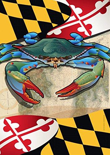 Maryland Blue Crab Large House Flag by Joe Barsin, 28x40 (Maryland Crab Houses)