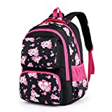 Girls Baby Kids Kindergaten Print Backpack School Bag Lovely Rucksack (Black)