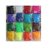 Rainbow Loom Bands 9600 PCS DIY  Refill Rubber Bands Kit 16 Different Color 384 S Clips 16 Hooks