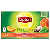 Lipton Green Tea Bags, White Mangosteen Peach, 20 ct, Pack of 6