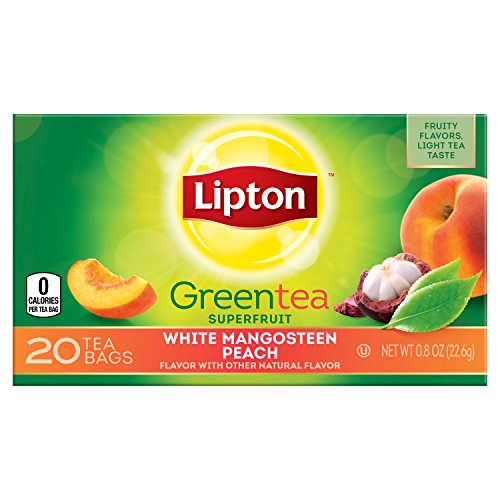 Plantation Iced Tea (Lipton Green Tea Bags, White Mangosteen Peach 20 Count, (Pack of 6))