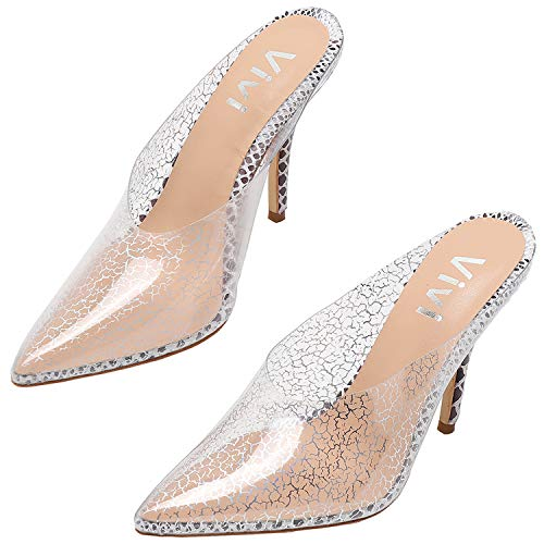 vivianly Womens Fashion Sexy High Pointed Toe Heels Slip on Dress Sandals (9 B(M) US, Nude Cloud)]()