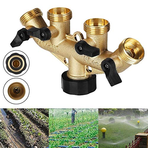 Laliva 4 Way Water Distributor Brass Garden Hose Water Tap Distributor 3/4 88 for Drop Ship - (Color: -