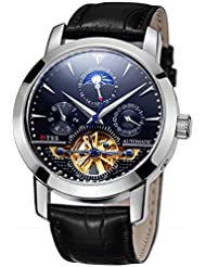 TSS Mens Automatic Tourbillon Moonphase Watch Leather Band T8030N8