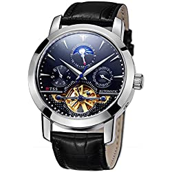 TSS Men's Automatic Skeleton Moonphase Watch T8030