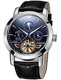 Men's Automatic Tourbillon Moonphase Watch T8030N8 - Mechanical Stainless Steel Round Watch Synthetic Sapphire...
