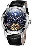 TSS Men's Automatic Tourbillon Moonphase Watch T8030N8 - Mechanical Stainless Steel Round Watch Synthetic Sapphire Pure & Clear Window - Precise Movement Analog Display - Water Resistant Up to 50m