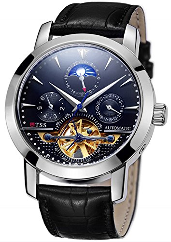 - TSS Men's Automatic Tourbillon Moonphase Watch T8030N8 - Mechanical Stainless Steel Round Watch Synthetic Sapphire Pure & Clear Window - Precise Movement Analog Display - Water Resistant Up to 50m