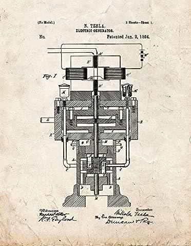 Tesla Electric Generator Patent Print Art Poster Old Look (8.5