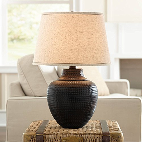 Brighton Rustic Table Lamp Hammered Bronze Metal Pot Beige Linen Drum Shade for Living Room Family Bedroom Nightstand - Barnes and Ivy (Copper Lamp Finials)