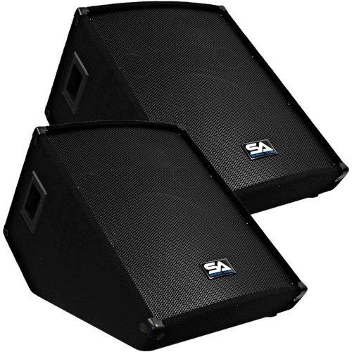 Seismic Audio - Pair of 15'' Floor Wedge Style Monitors - Studio, Stage, or Floor use - PA/DJ Speakers by Seismic Audio
