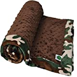 Cozy Wozy Camouflage Minky Baby Blanket with Mitered Corners, Camouflage/Brown, 32