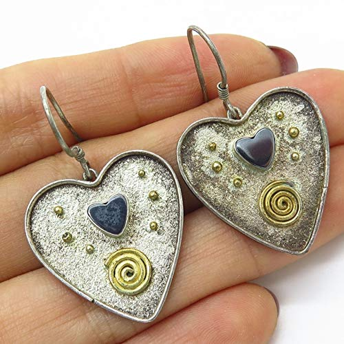 VTG 925 Sterling Silver 2 Tone Real Hematite Gem Spiral Heart Dangling Earrings