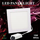 LED Panel Light, IEKOV™ AC110-240V Super Bright Ultra-thin Ceiling Light Recessed Light, 1100lm, Cool White-6000K, 7.5 x 7.5 Inch, Cut Hole 7.1 Inch, 15W Square