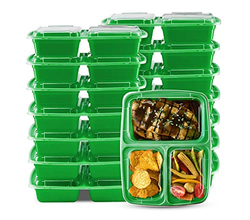 Home Décor Premium 3 Compartment Meal Prep Lunch Box and Food Storage Container Set - Green- 14 Pack Storage Durable Strong Decorative