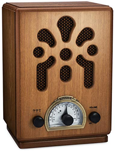 ClearClick Classic Vintage Retro Style AM/FM Radio with Bluetooth - Handmade Wooden Exterior (Antique Radio Knobs)