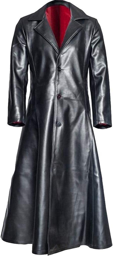 Fannyfuny Chaqueta Gótica de Moda para Hombres Abrigo Largo Vintage de Cuero de Imitación Ocasionales al Aire Libre S-5XL