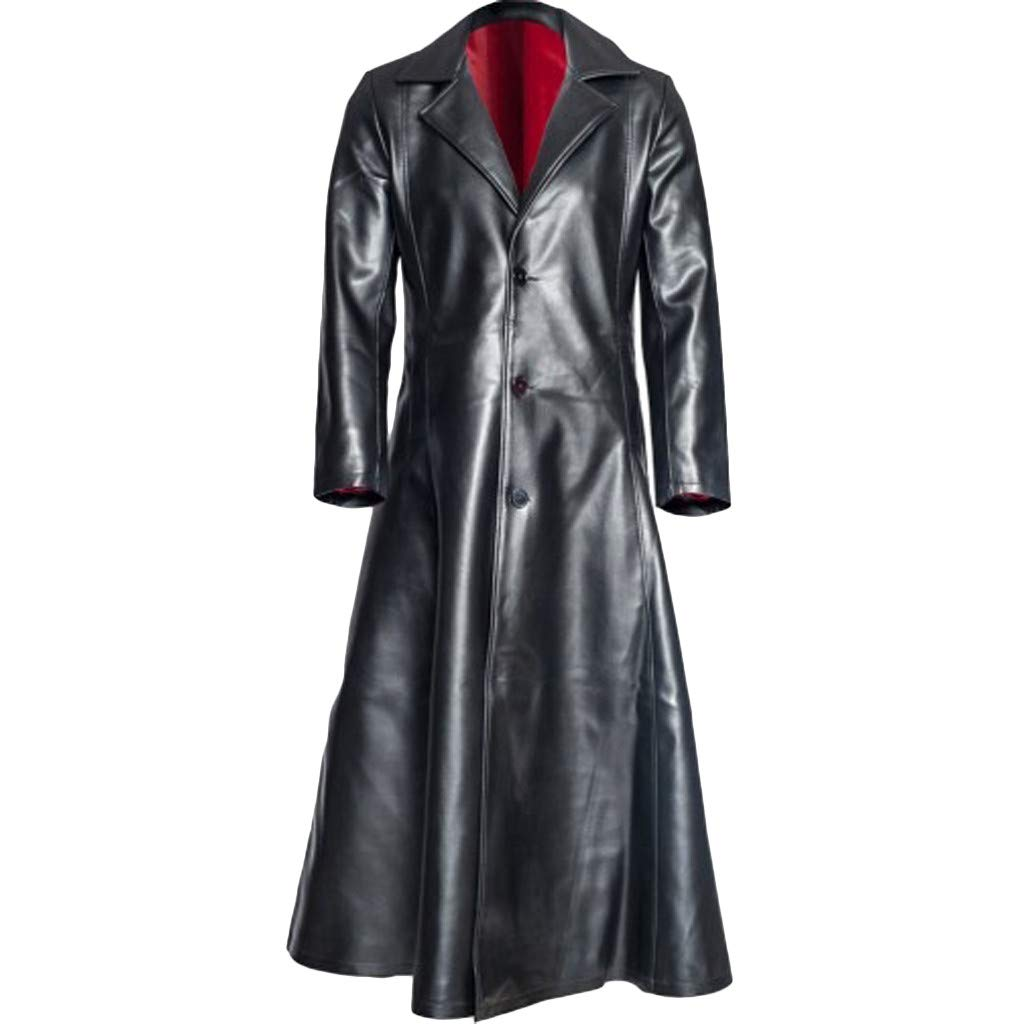 Mens Vintage Long Jacket, NDGDA Male Tailcoat Faux Leather Jacket Goth Long Steampunk Formal Gothic Victorian Frock Coat Costume for Halloween S-5XL by NDGDA 🔰 Men's Jacket & Coat