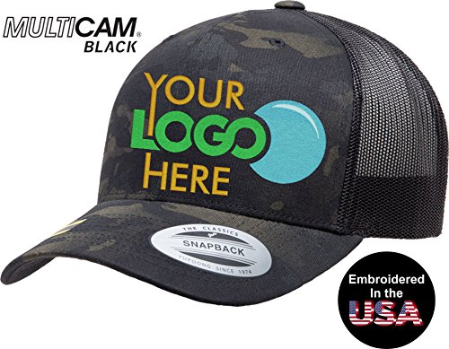 Custom Trucker Hat. Yupoong. Embroidered. Your Own Logo Curved Bill Snapback. (Black Licensed Multi Camo Black) ()