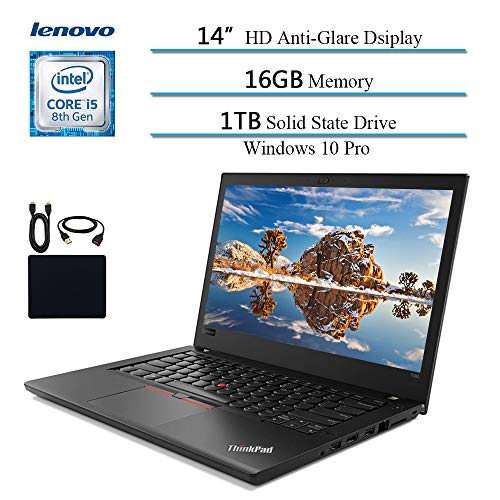 2019 Lenovo Thinkpad T480 14 Inch Flagship Premium Business Laptop, Intel Quad-Core i5-8250U (>i7-7500U), 16GB RAM, 1TB SSD, Fingerprint, Bluetooth, Windows 10 Pro w/ HESVAP Accessories (Best Lenovo Thinkpad For Gaming)