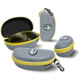 BLUPOND Semi Hard EVA Large Glasses Case with Hanging Hook 5 IN 1 Set for Sports Sunglasses (GrayYellow)