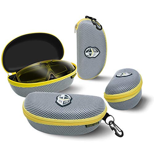 BLUPOND Semi Hard EVA Large Glasses Case with Hanging Hook 5 IN 1 Set for Sports Sunglasses (GrayYellow) ()