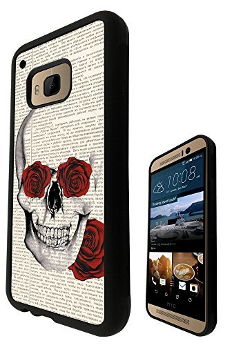Funky Sugar Skull vintage News paper flower Rose eyes Design htc One M9 Fashion Trend SILICONE GEL RUBBER CASE COVER Full Sides and top Case