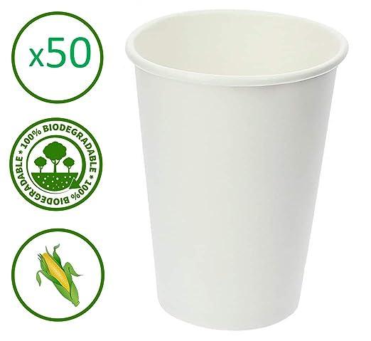 Egero - Lote de 50 Vasos Desechables compostables sin ...