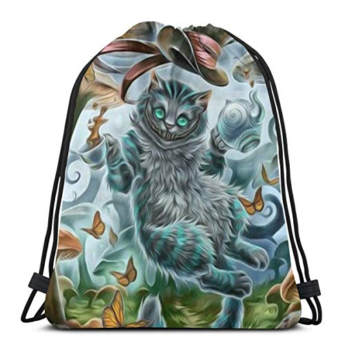 MPJTJGWZ Classic Drawstring Bag-Cheshire Cat Gym Backpack Shoulder Bags Sport Storage Bag for Man Women