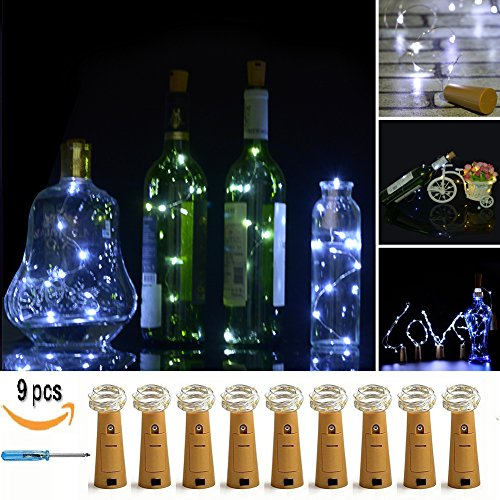 LXS Pack of 9 Cork Shape Wine Bottle Lights,Battery Operated Twinkle Lights 46cm(18in) 10LED Fairy Lights For Valentine's Day Wedding Party Indoor Outdoor Decoration(Pure White)