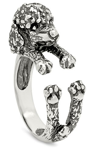 Silver-Wear Swirls Sterling Silver Antique Finish Poodle Dog Wrap Ring