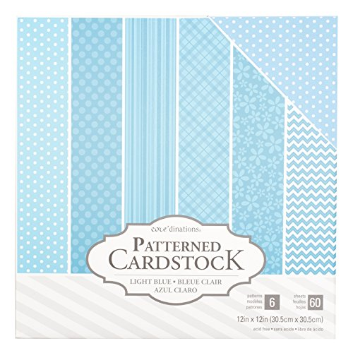 American Crafts Core'dinations Cardstock 60 Sheet 12 x 12 Inch Paper Pack Light Blue