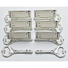 40pcs Multi Function Antique Skeleton Key Heart Shaped Bottle Opener Place Card Holder Wedding Favor - Silver