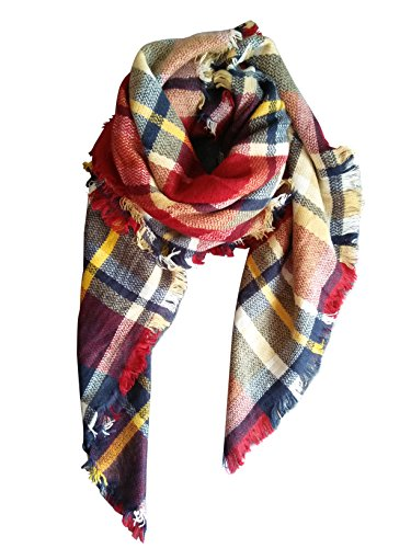 MOTINE Tartan Blanket Scarf Stylish Winter Warm Pashmina Wrap Shawl for Women (Burgundy)