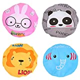 Bathing Shower Hair Cap, 4pcs Cute Cartoon Waterproof Bathing Cap Animal Series for Kids