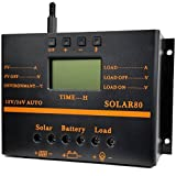 ZHCSolar Solar Charge Controller 80A PWM 12V 24V 1920W Solar Panel Charging Discharge Regulator with 5V USB Output Multip Circuit Protection Anti-Fall Durable ABS Housing Enhanced Heat Sink