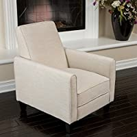 Noble House Delouth Recliner Club Chair in Light Beige