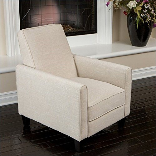 Noble House Delouth Recliner Club Chair in Light Beige (Comfortable Chairs For Small Spaces)