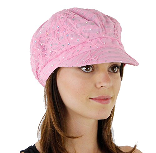 Glitter Sequin Trim Newsboy Style Relaxed Fit Cap, Pink by Greatlookz Fashion