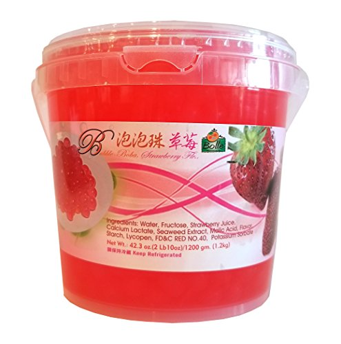 (Bolle Popping Boba Pearls Bubble Tea, Ice Cream or Yogurt Topping 42.3 Oz. (Strawberry))