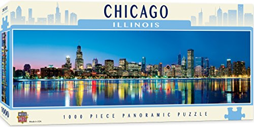 MasterPieces Cityscapes Panoramic Jigsaw Puzzle, Downtown Chicago, Illinois, Photographs by James Blakeway, 1000 Pieces