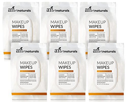 ArtNaturals Makeup Remover Cleansing Wipes-Towelettes – (30 Count x 6 Piece Set) – Biodegradable Facial Wipes Remove All Makeup Including Waterproof Mascara – for Sensitive Face and -