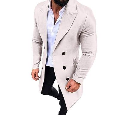 ... De Los Hombres Y El Invierno Foso Largo Outwear Botón Abrigos Elegantes Abrigos Chaquetas Abrigos Hombre Invierno Largos Tallas Grandes: Amazon.es: Ropa ...
