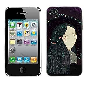 Cubierta de la caja de protección la piel dura para el Apple iPhone 4 / 4S - black hair girl painting art