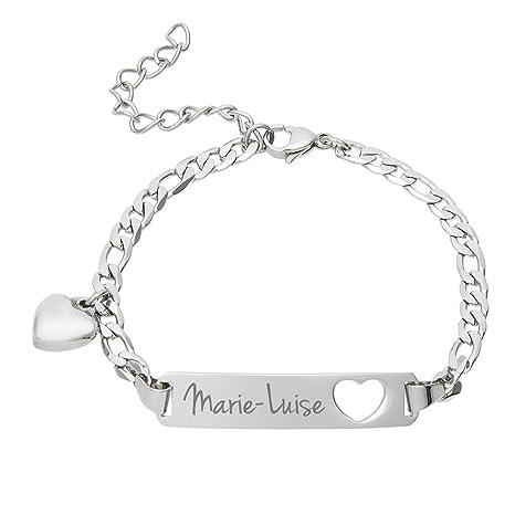 Gravado – Pulsera para Mujer en Acero Inoxidable – Personalizada con el Nombre – con Colgante de Corazón – Color: Plata – Ideas para San Valentín o un ...